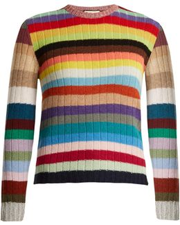 Long-sleeved Striped Cashmere-blend Sweater