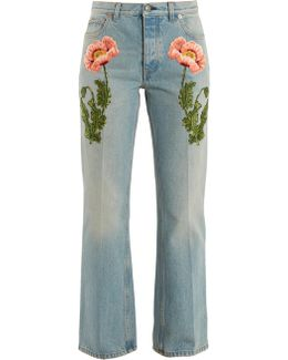 Flower-embroidered Straight-leg Jeans