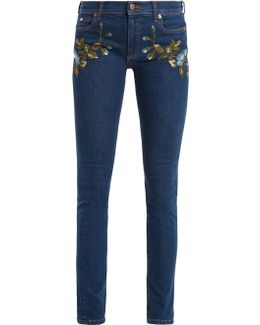Floral-embroidered Mid-rise Skinny-leg Jeans