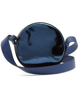 Circle Metallic-leather Cross-body Bag