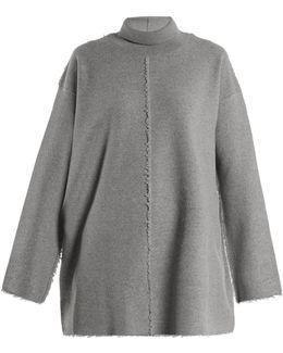 Roll-neck Raw-seam Wool Sweater