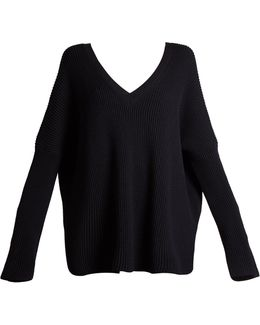 V-neck Ribbed-knit Sweater