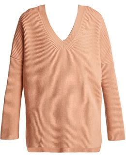 V-neck Ribbed-knit Wool Sweater