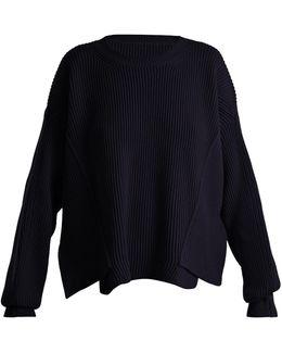 Asymmetric-hem Ribbed-knit Wool Sweater