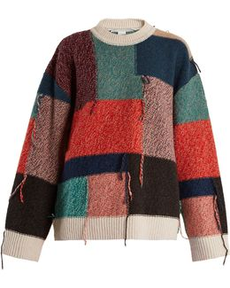 Patchwork Reverse-side Intarsia-knit Wool Sweater