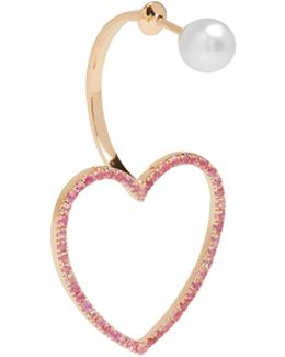 Sapphire, Pearl & Pink-gold Earring