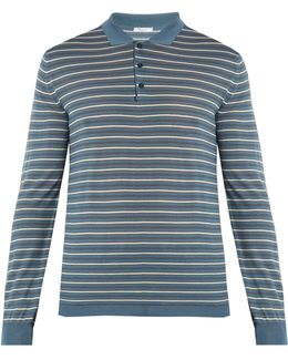 Long-sleeved Striped Wool-blend Polo Shirt