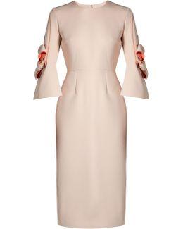 Lavete Bow-sleeved Bonded-crepe Dress