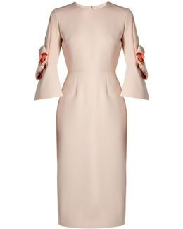 Lavete Bow-sleeved Bonded-crepe Dress