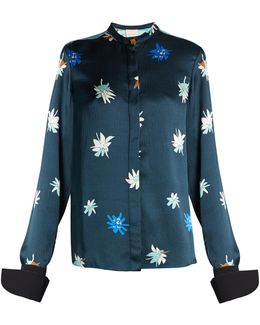 Carone Floral-print Hammered-satin Blouse