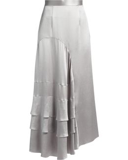 Vostell Tiered-panel Satin-crepe Skirt