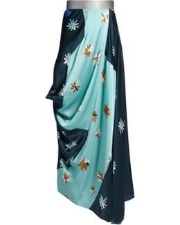 Cavianna Floral-print Ruched-side Satin Skirt