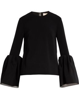 Truffaut Bell-sleeved Stretch-cady Top