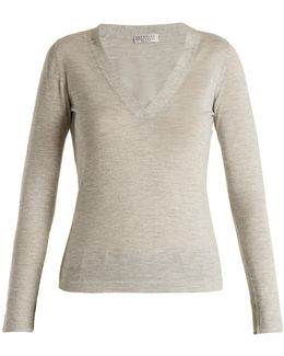 V-neck Cashmere And Silk-blend Top