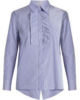 Ruffled-bib Pinstriped Cotton Shirt