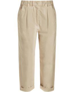 Boyfriend-fit Cotton-blend Chino Trousers