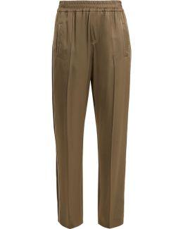 Side-stripe Wide-leg Satin Trousers