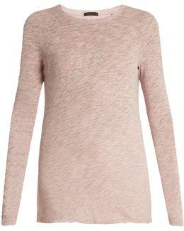 Raw-edged Cotton-blend T-shirt
