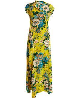Bournier-print Asymmetric Silk Dress
