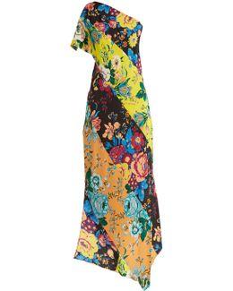 Floral-print One-shoulder Silk Dress