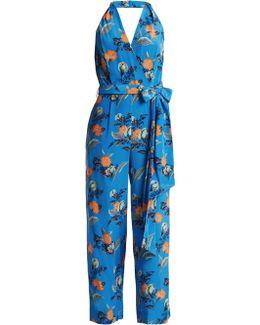 Silese-print Wide-leg Silk Jumpsuit