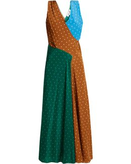 Polka-dot Print Silk-crepe Midi Dress