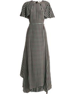 Fluted-sleeve Cossier-print Silk Dress