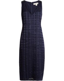 V-neck Sleeveless Textured-satin Dress