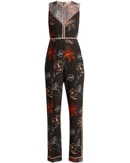 Fenelon-print Silk Jumpsuit