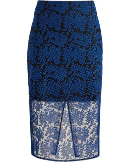 Geometric-embroidered Tulle Pencil Skirt