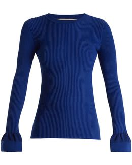 Fluted-cuff Cotton-blend Ribbed Sweater