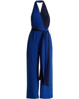Bi-colour Halterneck Silk Crepe De Chine Jumpsuit