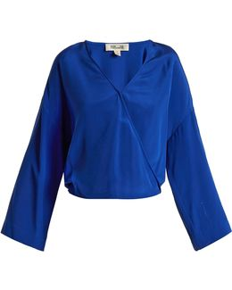 Crossover-front Silk Crepe De Chine Blouse