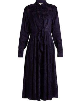 Long-sleeved Waist-tie Devoré Shirtdress