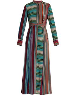 Striped Silk Shirtdress