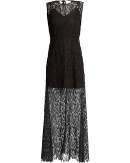 Leaf And Floral Macramé-lace Sleeveless Gown