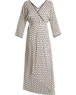 Honeycomb Dot-print Asymmetric-hem Crepe Dress