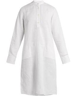 Stand-collar Long-sleeved Linen Kaftan