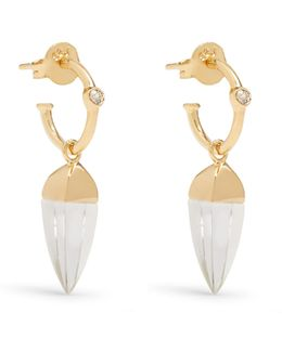 Topaz, Quartz And Gold-plated Earrings