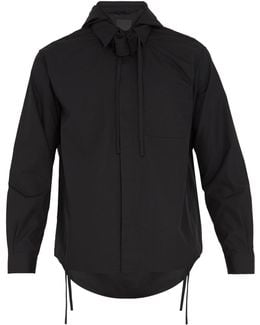 Hooded Tie-neck Cotton Shirt