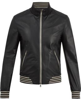 Zip-through Striped-trim Leather Jacket