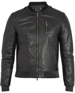 Ribbed-collar Leather Bomber Jacket