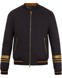 Embroidered Wool-blend Bomber Jacket