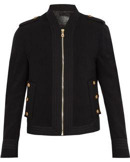 Grosgrain-trim Wool Military Jacket