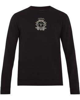 Crest-appliqué Cotton-blend Sweatshirt