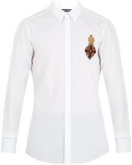 Crest-appliqué Cotton Shirt