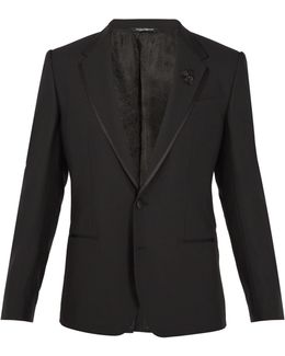 Bee-embellished Wool-blend Tuxedo Jacket