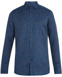 Floral-jacquard Single-cuff Cotton Shirt