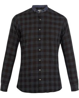 Micro-collar Checked Shirt