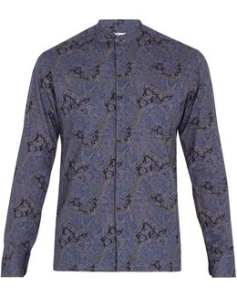 Paisley-print Granddad-collar Cotton Shirt